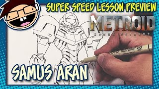 Lesson Preview: How to Draw SAMUS ARAN (Metroid) | Super Speed Time Lapse Art