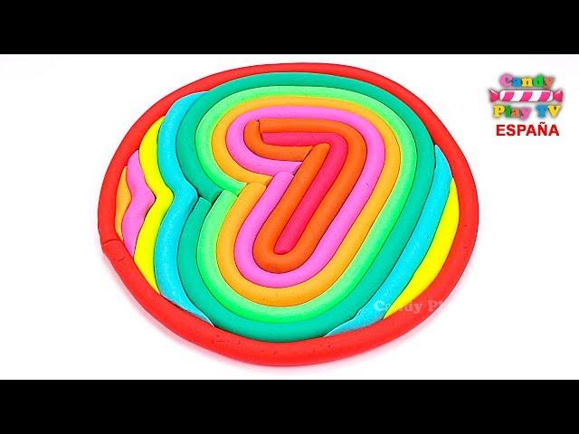 Aprender colores en español para niños  Como hacer los número siete en plastilina Play Doh