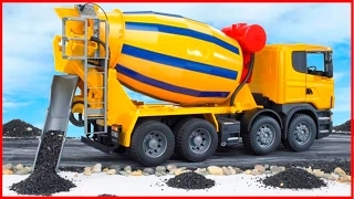 Cement Mixer Truck Kids Cartoon Construction Vehicle for children Learn Transport Pa