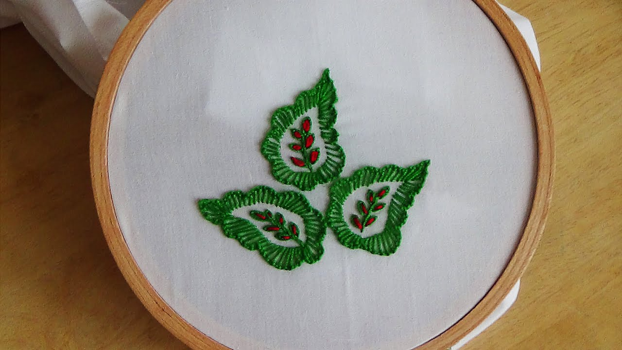 Hand embroidery leaf stitch youtube