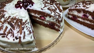 """Торт """"ЗИМНЯЯ ВИШНЯ"""" / Нежный, красивый и очень вкусный!"""