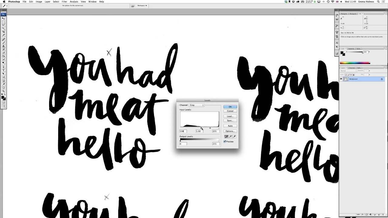 Photoshop Levels for Brush Lettering Scans - YouTube