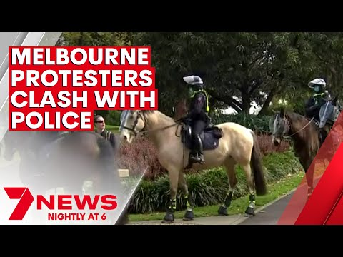 Police and protesters clash in Melbourne in a lockdown showdown   7NEWS