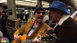 Repeat youtube video U2 Busks in NYC Subway in Disguise