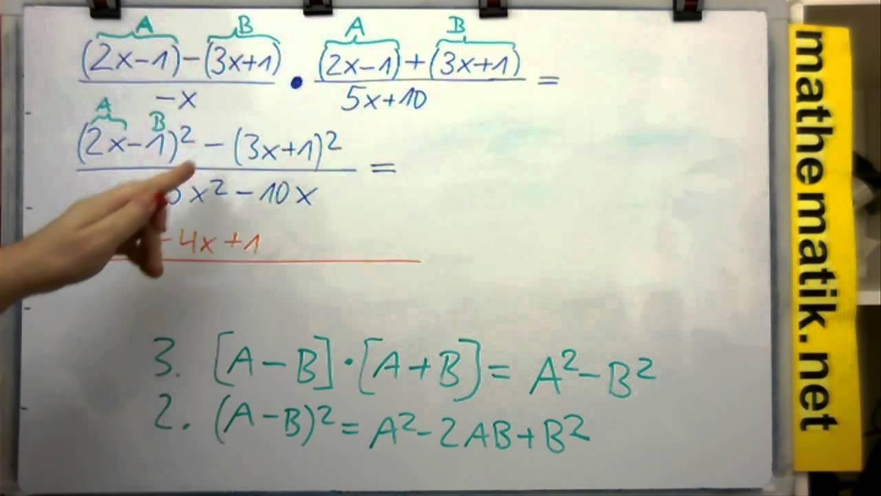 Anwendung Binome: Bruchterme multiplizieren - Beispiel - YouTube