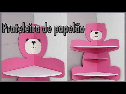 Prateleira De Papelão Em Formato De Ursa, para decoração infantil.