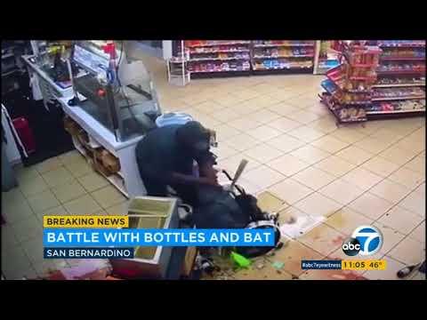 Violent attack caught on camera at San Bernardino convenience store