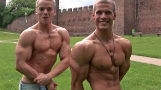 Aesthetic junior bodybuilders flex their muscles