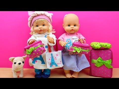 Bebés Nenuco HERMANITAS TRAVIESAS - Naia está malita Preparan maleta de Vacaciones y Cumpleaños Niki