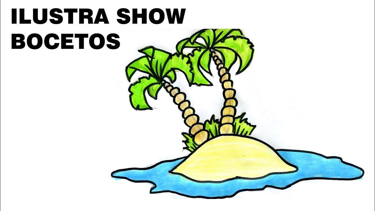 Cómo dibujar una ISLA CON PALMERAS Tutorial ILUSTRA SHOW - YouTube