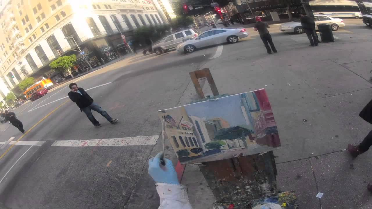 Timelapse Plein Air Painting Of 7th Olive Los Angeles Youtube