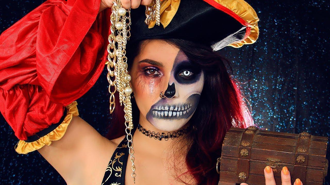 Maquillaje Para Halloween Pirata Mitad Calavera Jimena Aguilar - Maquillaje-de-pirata-para-mujer