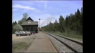 Bangor and Aroostook railroad freight train at oakfield station in may 1991