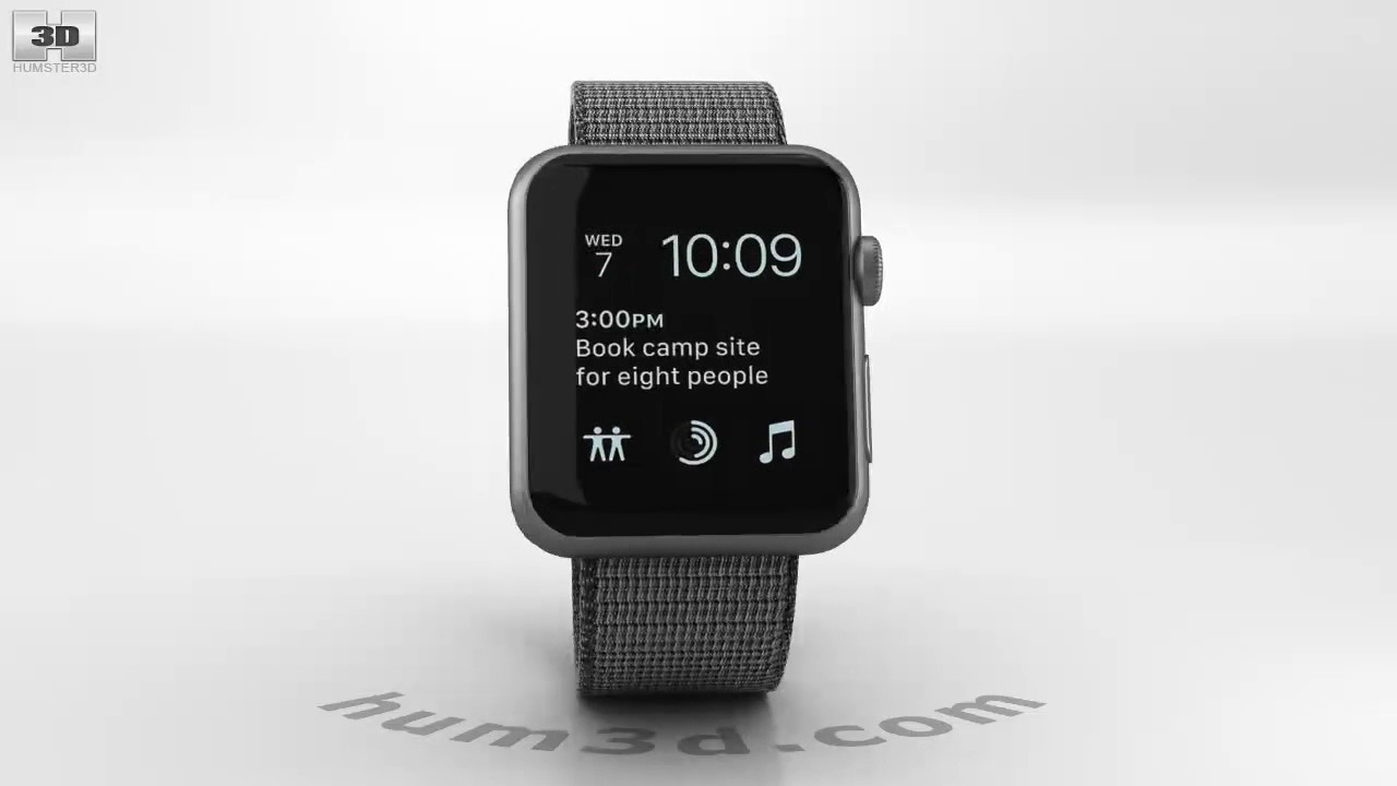 7cfb057f2790 Apple Watch Series 2 42mm Space Gray Aluminum Case Black Woven Nylon 3D  model by Hum3D.com