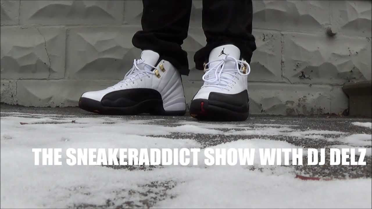 99bb5846b33d67 Air Jordan Taxi 12 XII Retro Sneaker On Feet Outside Wearing Jeans   Shorts  With Dj Delz  DjDelz - YouTube