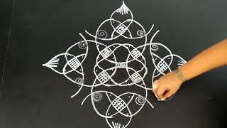 Rangoli designs...creative sikku..simple N easy..8 to 2 dots..