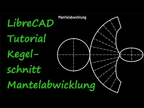 LibreCAD Tutorial unrolled lateral surface view of a conical section
