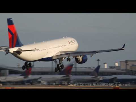 Delta Airlines Airbus A330-223 Crosswind landing New Tokyo Intl (Narita) / EOS7D EF100-400L EOSMOVIE
