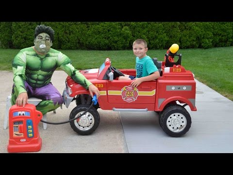 Little Heroes  Hulk the Superhero, the Kid Firemen and The Gas Tank Confusion Funny Kids YouTube Vid