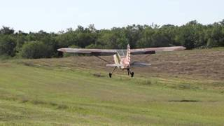 Stinson L-5 takeoff at Cannon Field (53T)