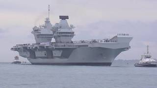 HMS Queen Elizabeth arriving at Portsmouth