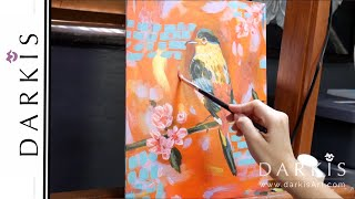 Golden Bird in Acrylic | Canvas Painting