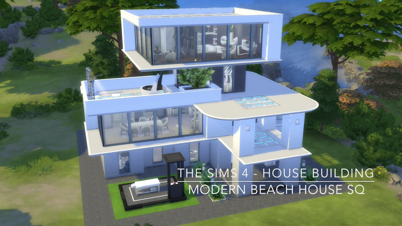 Modern Beach House the sims 4 - house building - modern beach house sq - youtube