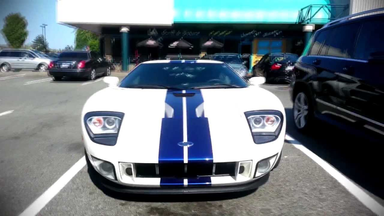 White W Blue Racing Stripes Ford Gt Spotted In Richmond Bc