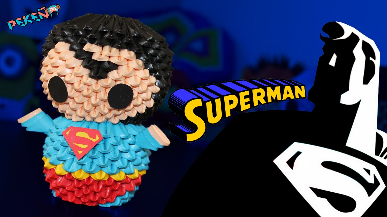 Superman 3d origami pekeo youtube jeuxipadfo Image collections