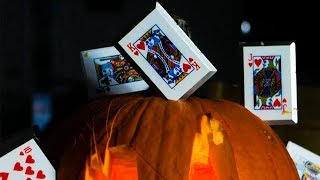 Pumpkin Carving With Metal THROWING CARDS!