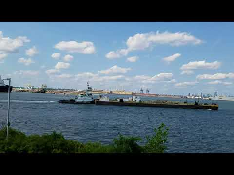 Oil Barge Passing Through The New York Lower Bay In Staten Island, New York