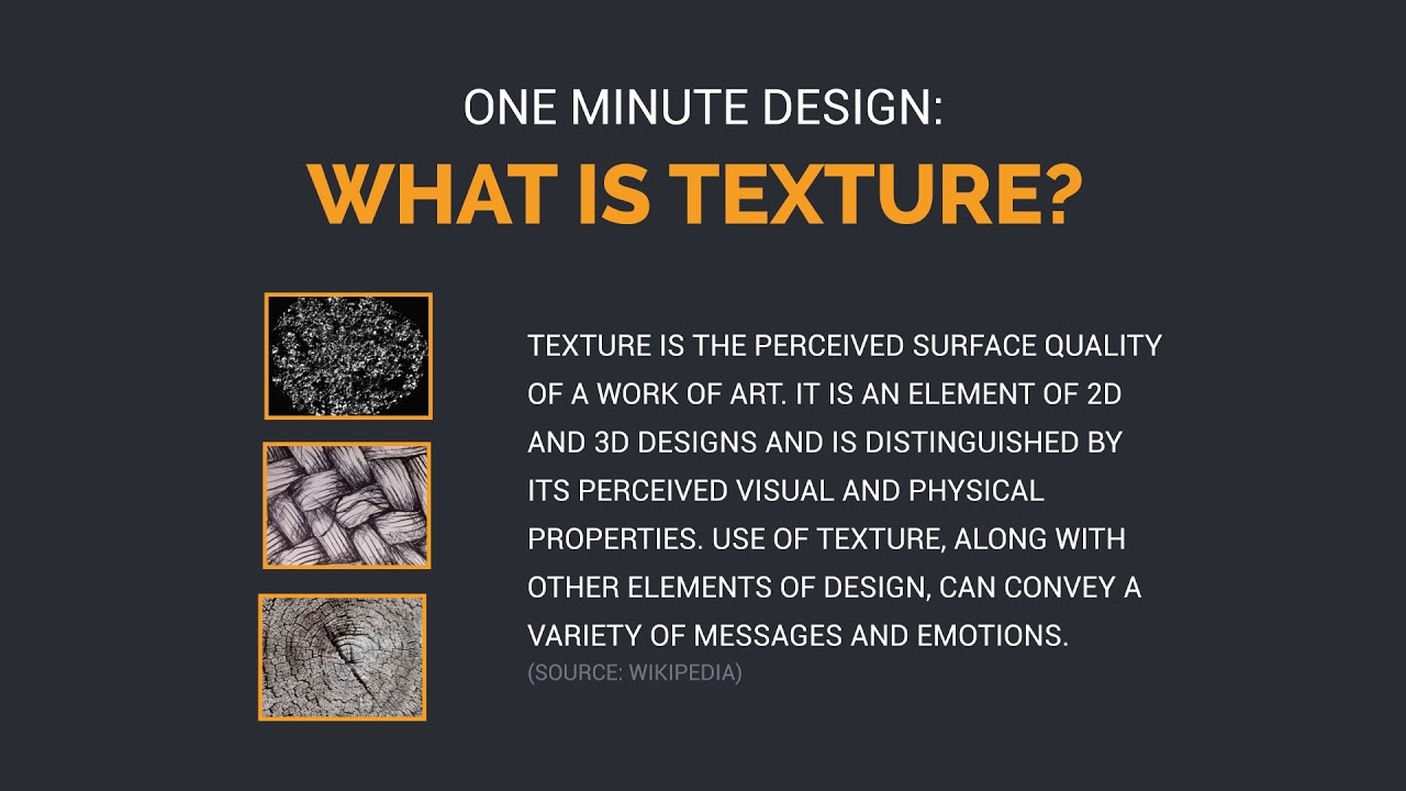 One Minute Design What Is Texture Youtube