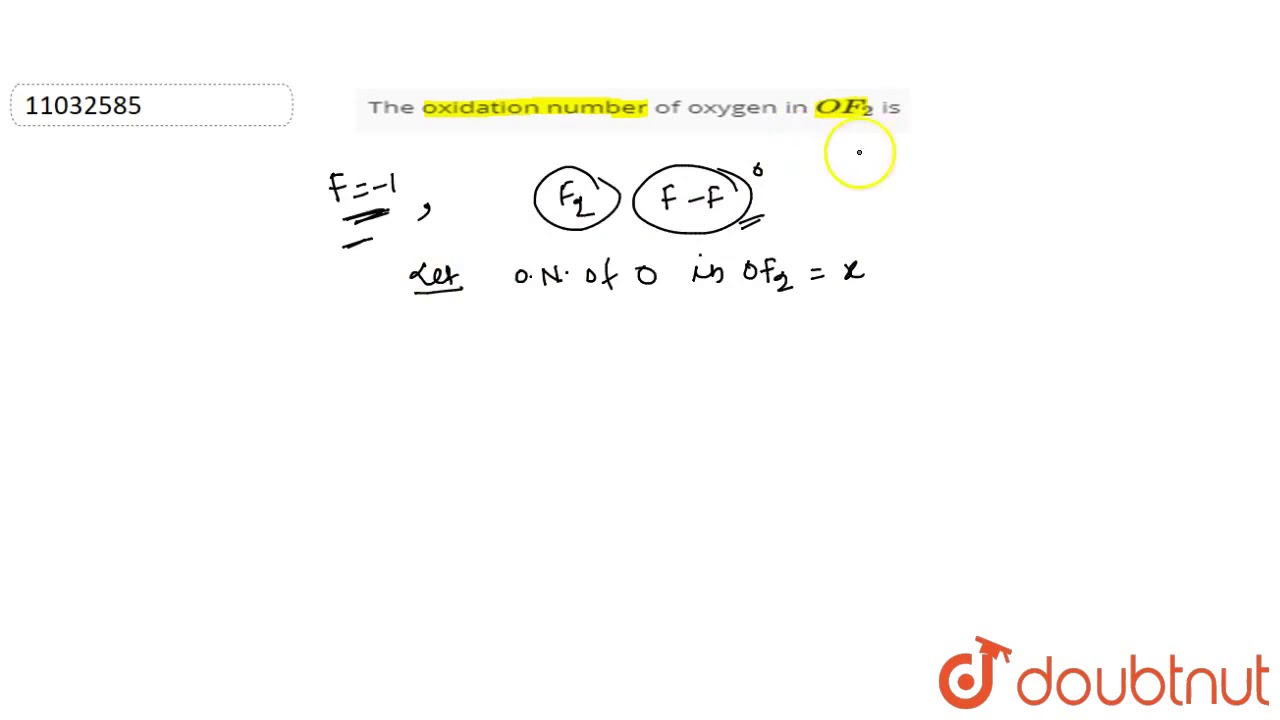 what is the oxidation number of oxygen
