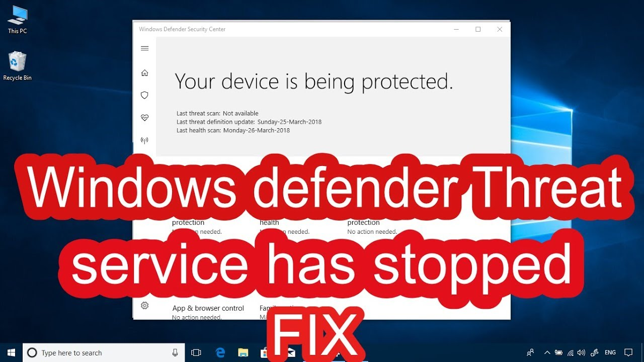 🚩Windows defender Threat service has stopped [[ FIX]] - YouTube