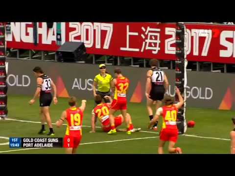 First AFL goal in China, Barlow (Gold Coast Suns - Port Adelaide Power)
