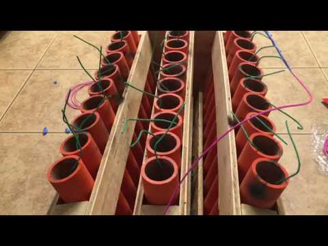 NEON FUSION RED AND BLUE 30 SHOT FANNED MORTAR RACK