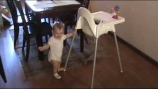 Crawling, Pushing High Chair And Baby Doll.wmv