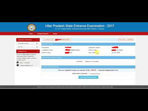 UPSEE 2017 Online Counseling, Choice Filling, Payment, Locking Hindi
