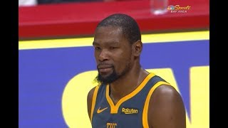 Kevin Durant Gets Mad at Draymond Green for Late Turnover in OT Loss