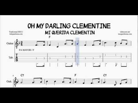 Oh My Darling Clementine F Major Tabs Sheet Music for Guitar with ...