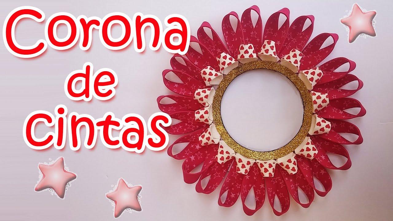 Adornos navide os corona de navidad con cintas - Adorno de navidad manualidades ...