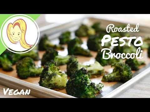 Amazing Roasted Pesto Broccoli (Vegan)