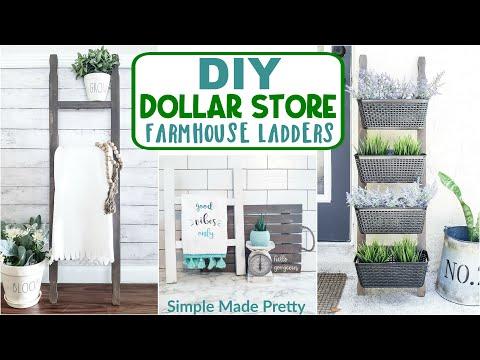 DOLLAR Store DIY Farmhouse Ladders - DIY Farmhouse Ladder - Tea Towel Ladder - Blanket Ladder DIY
