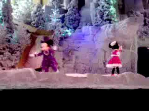 Mickey Mouse falls on the ice