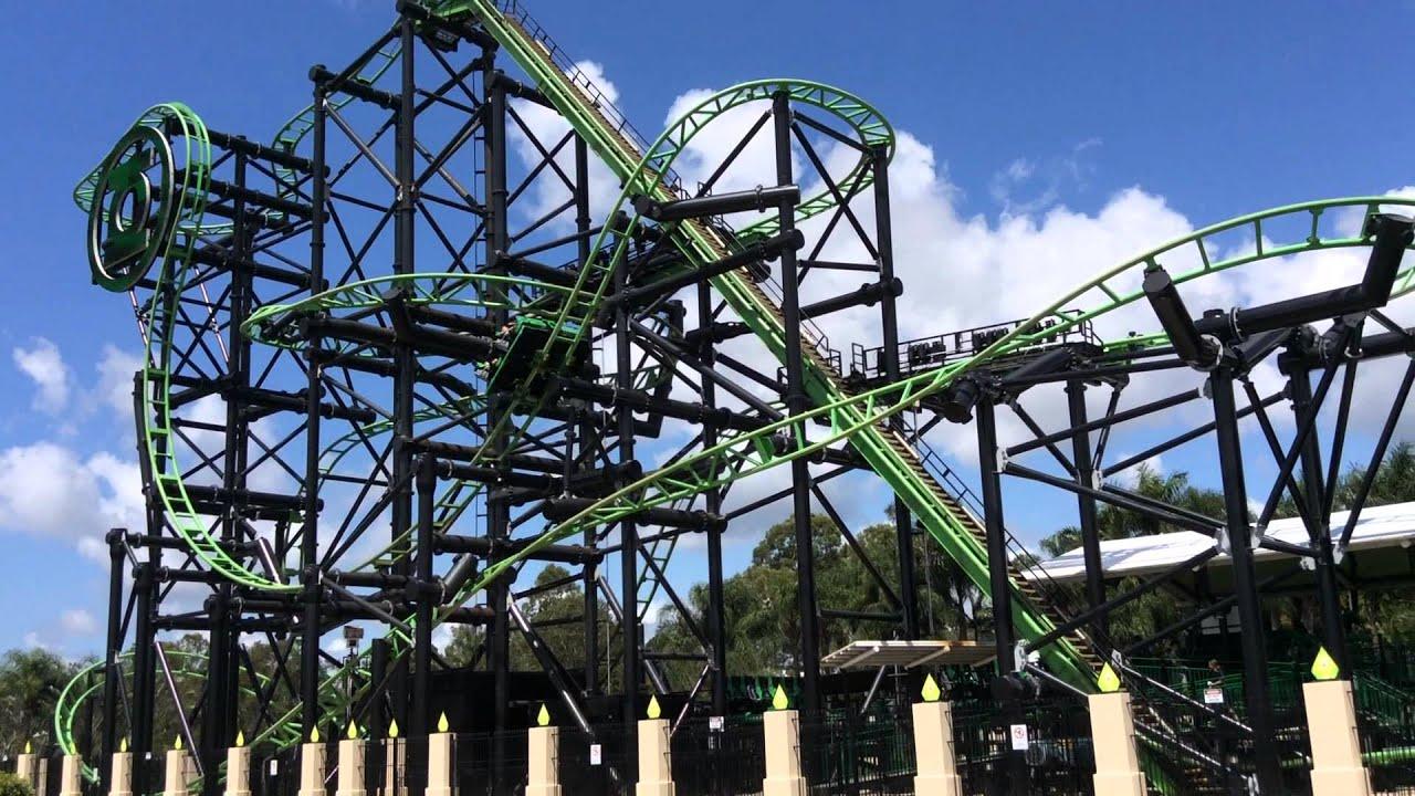 Green Lantern Roller Coaster Movie World Australia Youtube