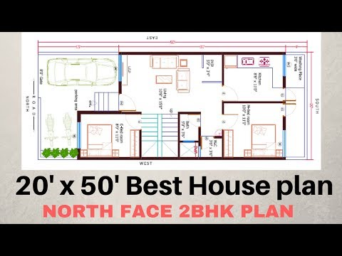 20 X50 North Face 2bhk House Plan Explain In Hindi Tube10x Net