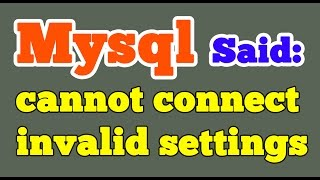 Xampp MySQL said Cannot connect invalid settings error | Phpmyadmin(Xampp MySQL said Cannot connect invalid settings error while accessing Phpmyadmin Website :- http://goo.gl/wcnfRA When you tried to access ..., 2015-12-09T16:22:02.000Z)