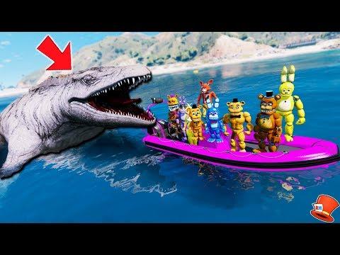 ANIMATRONICS vs GIANT MOSASAURUS JURASSIC WORLD! (GTA 5 Mods FNAF Kids RedHatter) thumbnail