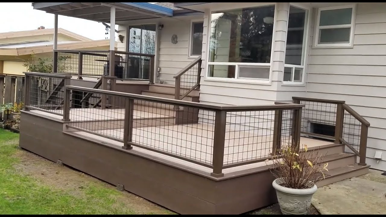 Azek Decking And Hog Wire Railing Finished View Youtube   Hog Wire Stair Railing   Outdoor Stair   Deck Railing   Thin Picket Deck   Backyard   Indoor