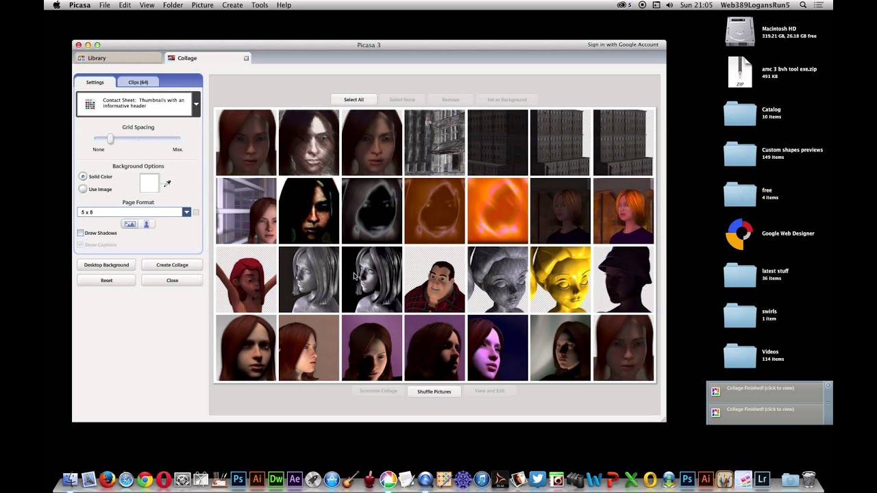 Picasa and creating collages and contact sheets of images tutorial